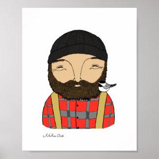 Lumberjack Chickadee Poster Woodland Art Print