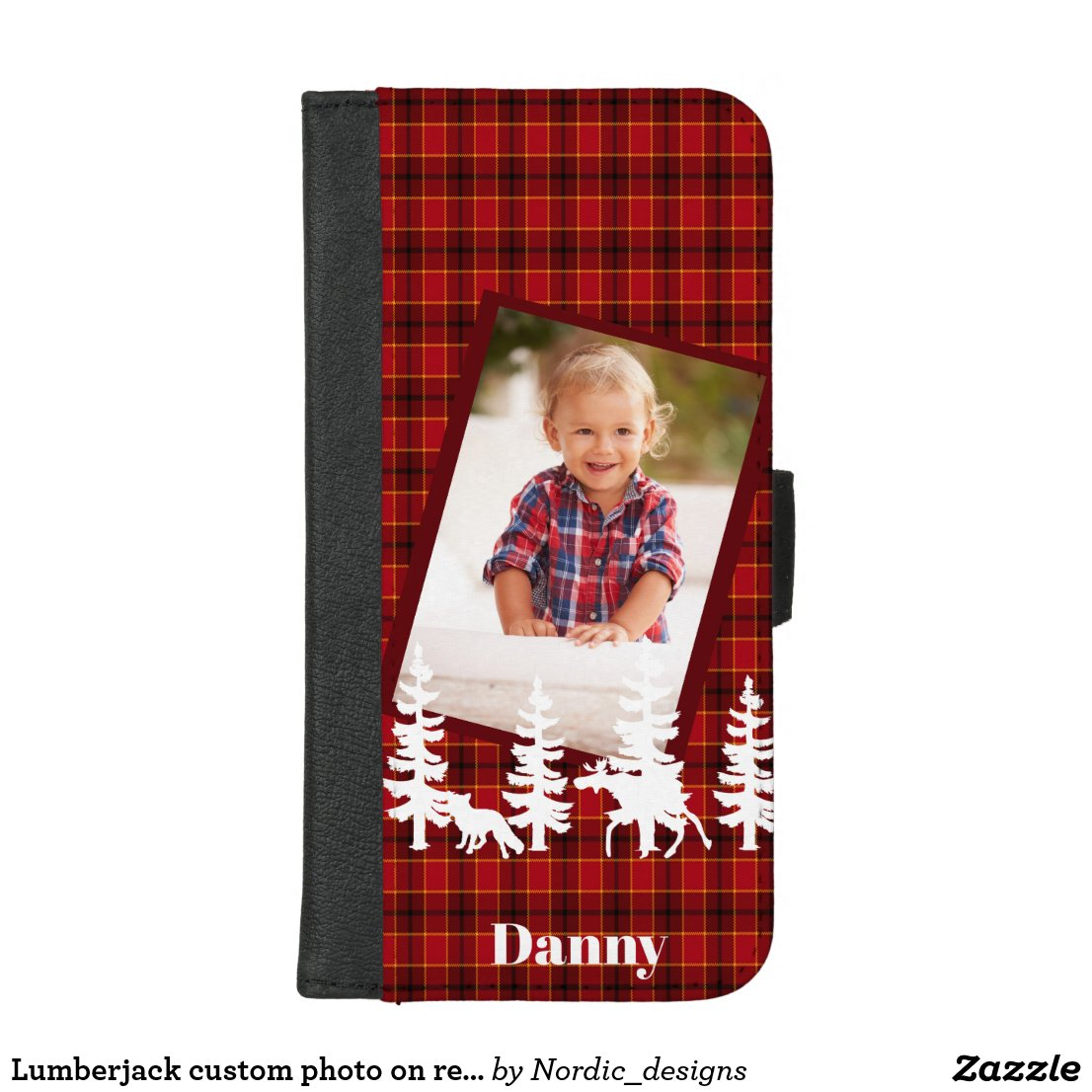 Lumberjack custom photo on red plaid buffalo check iPhone 8/7 plus wallet case