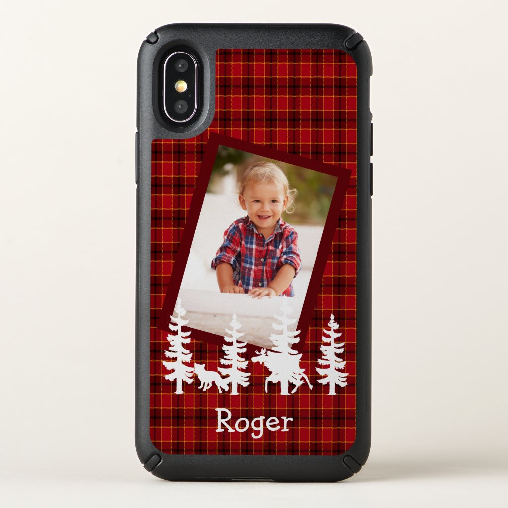 Lumberjack custom photo on red plaid check woods speck iPhone x case