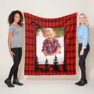 Lumberjack custom photo red plaid pattern forest fleece blanket