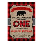 Hand shaped Lumberjack First Birthday Invitation