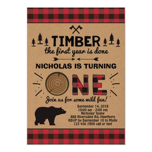 Lumberjack First Birthday Invitation