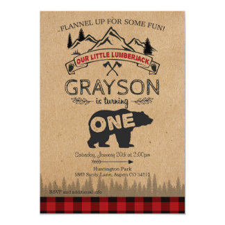 Lumberjack First Birthday Invitation - Bear