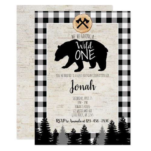 Lumberjack First Birthday Invitation Buffalo Plaid