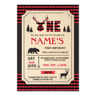 LUMBERJACK FIRST BIRTHDAY INVITE WOODLAND CHECK at Zazzle