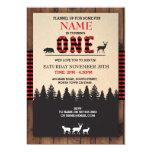 Lumberjack First Birthday ONE Red Check Invite