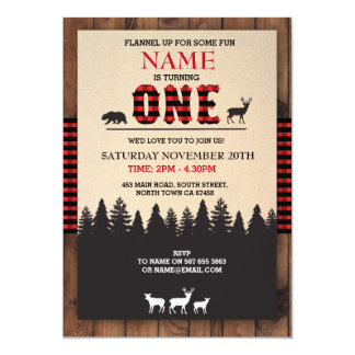 Lumberjack First Birthday ONE Red Check Invite