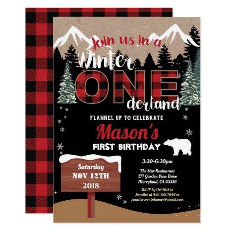 Lumberjack first birthday winter Onederland boy Invitation