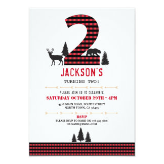 Lumberjack Flannel 2nd Two 2 Birthday Party Invite