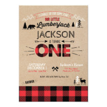 Lumberjack Flannel First Birthday Invitation