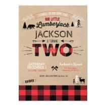 Lumberjack Flannel Second Birthday Invitation