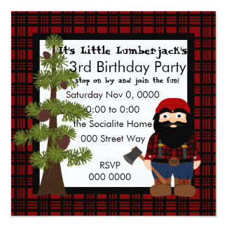 "Lumberjack Gnome 5.25"" Square Invitation Card"