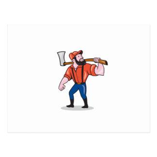 LumberJack Holding Axe Cartoon Postcard