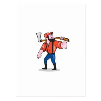 LumberJack Holding Axe Cartoon Post Card