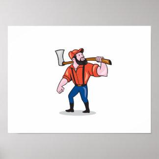 LumberJack Holding Axe Cartoon Poster