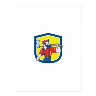 LumberJack Holding Axe Shield Cartoon Postcards