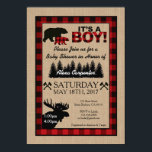 "Lumberjack Little Hunter Baby Shower Invitation<br><div class=""desc"">Lumberjack Little Hunter Baby Shower Invitation This sweet invitation has a burlap background to create a rustic feel, and has a buffalo plaid border to give it a hunting theme look. This adorable theme with 2 bears, moose, trees and hatchets, will make your guests smile when they open the envelope....</div>"