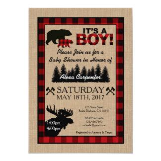 Lumberjack Little Hunter Baby Shower Invitation