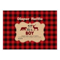 Lumberjack Little Hunter Boy Diaper Raffle Ticket Card