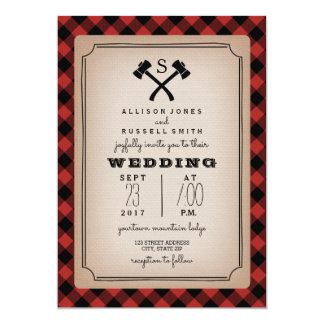 Lumberjack Monogram Axe Buffalo Plaid Wedding Card