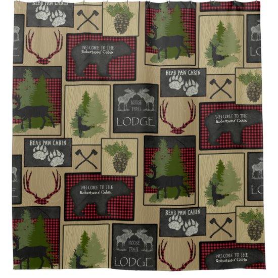 Lumberjack Mountain Bear Deer Cabin Personalized Shower Curtain