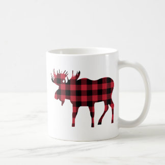 Lumberjack Mug, Moose Silhouette Red & Black Plaid Coffee Mug