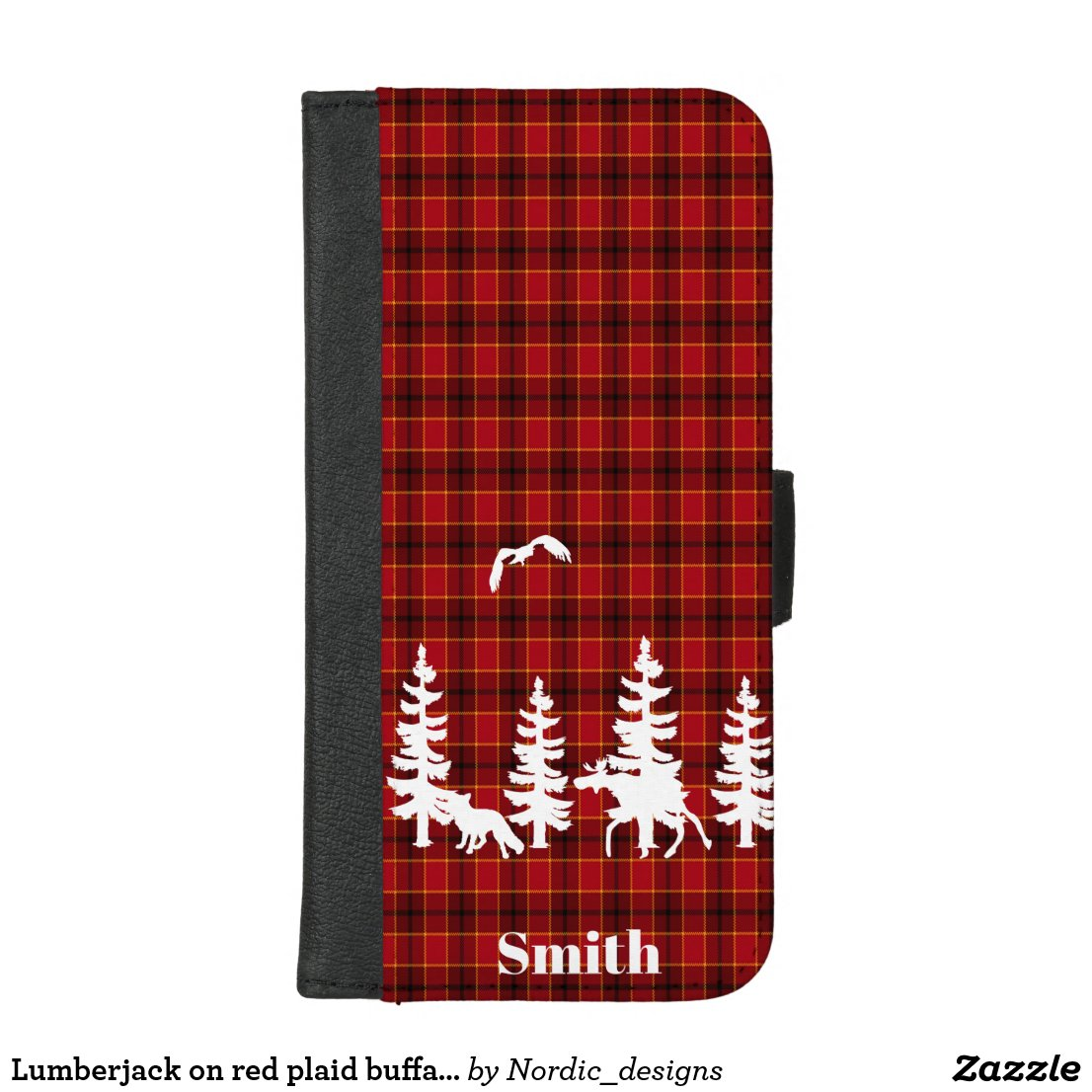Lumberjack on red plaid buffalo check with forest iPhone 8/7 plus wallet case