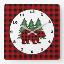 Lumberjack pattern Country bear wall clock
