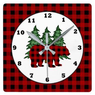 Lumberjack pattern Country bear wall clock