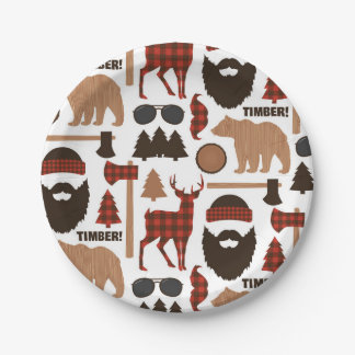 Lumberjack Pattern Paper Plate