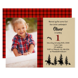 Lumberjack photo 1st birthday party invitation