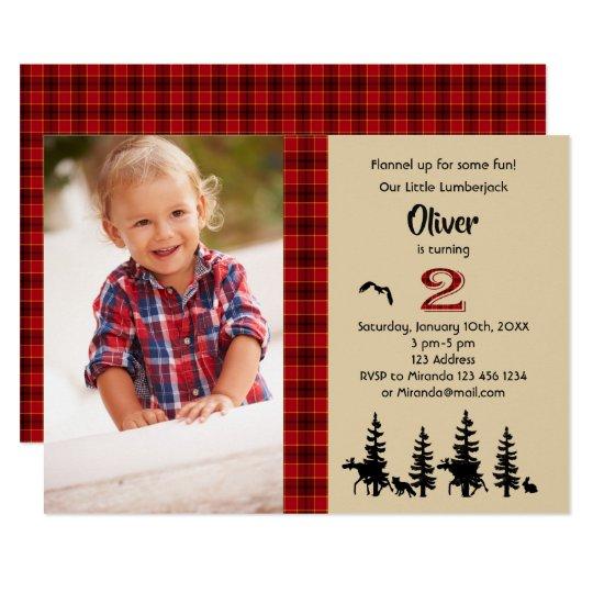 Lumberjack Photo 2nd Birthday Party Invitation