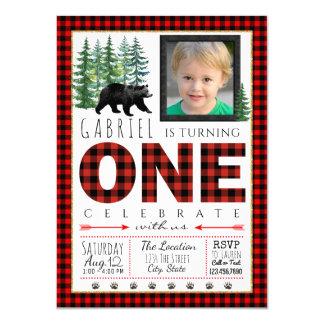 Lumberjack Photo First Birthday Party Invitation