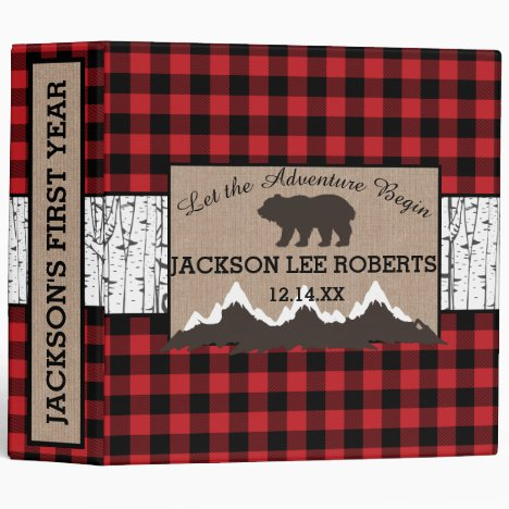 Lumberjack Plaid Baby's First Year Album 3 Ring Binder