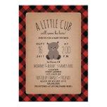 Lumberjack Plaid Bear Cub Baby Shower Invitation