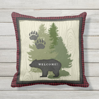 Lumberjack Plaid Bear Paw Welcome Sign Cabin Outdoor Pillow