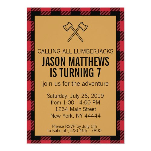 Lumberjack Plaid Birthday Invitation