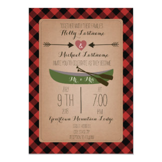 Lumberjack Plaid Canoe + Arrows Wedding 5x7 Paper Invitation Card