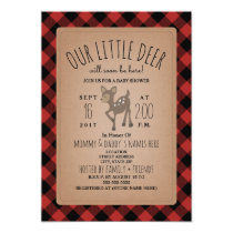 Lumberjack Plaid Deer Baby Shower Invitation