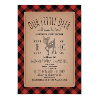 Lumberjack Plaid Deer Baby Shower Invitation