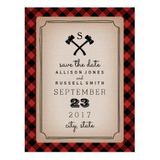 Lumberjack Plaid Monogram Ax Save The Date Postcard