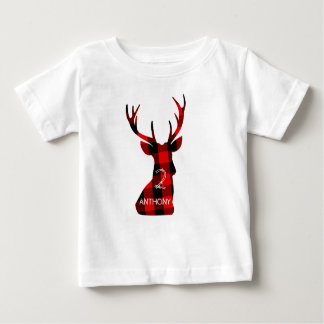 Lumberjack Plaid Red Deer Head Antlers Birthday Baby T-Shirt
