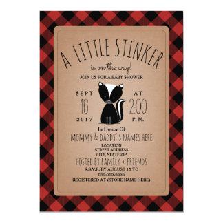 Lumberjack Plaid Skunk Baby Shower Invitation