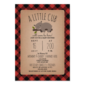 Lumberjack Plaid Sleepy Bear Cub Baby Shower Card
