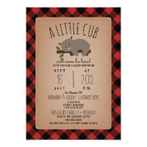 Lumberjack Plaid Sleepy Bear Cub Baby Shower Invitation