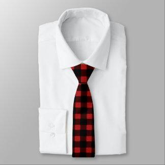 Lumberjack Print Red Black Winter Buffalo Plaid Tie