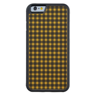 Lumberjack Print Yellow Black Winter Buffalo Plaid Carved Maple iPhone 6 Bumper Case