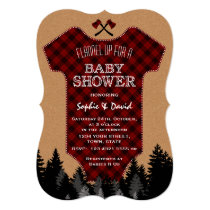 Lumberjack Red Buffalo Baby Suit Baby Shower Card