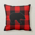 Lumberjack Red Buffalo Check | Bear Silhouette Throw Pillow