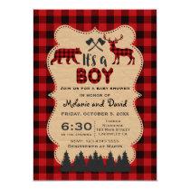 Lumberjack Red Buffalo Little Hunter Baby Shower Card
